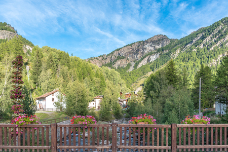 Landscape in Lillaz in Valle d'Aosta, Italy
