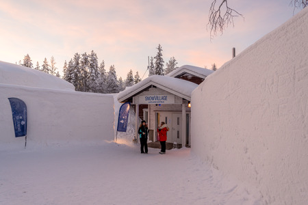 Entrance to an Ice hotel in Lapland near Sirkka, Finland