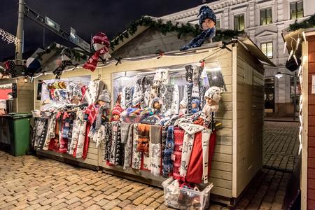 Christmas market stalls in Esplanade Park in Helsinki, Finland