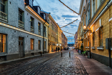 Streets in the Helsinki during the evening, Finland Editorial