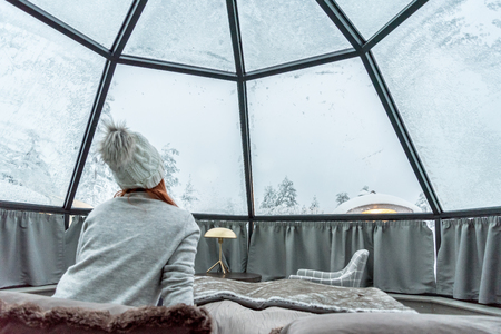 Glass igloo accommodation in Lapland near Sirkka, Finland Stock fotó