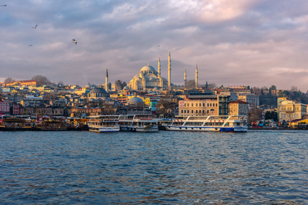 Skyline of Istanbul featuring the Sultan Ahmet Mosque in Turkey Editorial