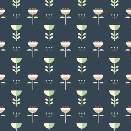 Seamless scandinavian style pastel flowers. Blue background pattern in vector
