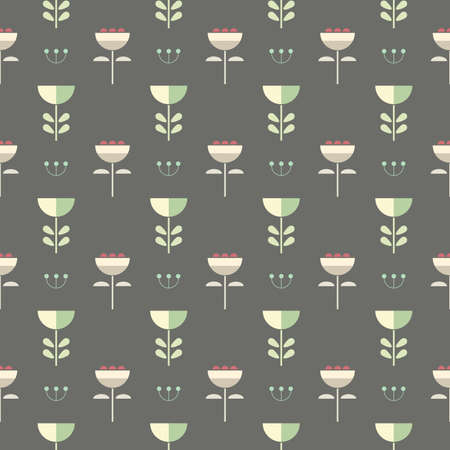 Seamless scandinavian style pastel flowers. Floral pattern on grey background