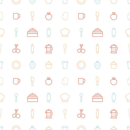 herramientas de cocina: Seamless bakery icons. Kitchen tools background. Cake, cherry, cup, spoon, strawberry pattern on white background Vectores