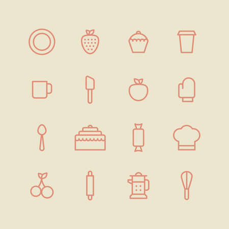 bakery products: Bakery icon set. Kitchen tools background. Cake, cherry, cup, spoon, strawberry, plate, apple, cupcake on white background Illustration