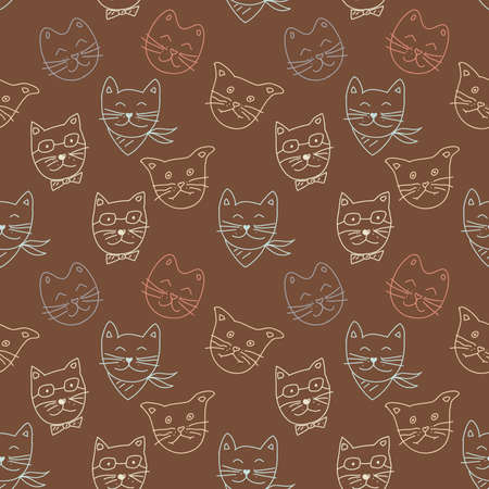 Outlined vector seamless cats pattern. Cute hand drawn animal background. Simple illustration of cats