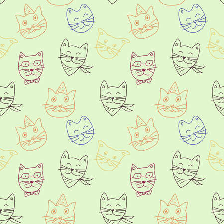 Vector colorful cats seamless pattern. Cute hand drawn animal background