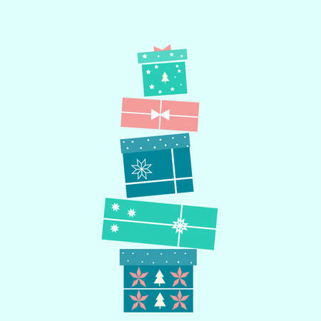 Collection of colorful Christmas gift boxes on blue background. Holiday gifts illustration with ribbon, christmas tree and snowflakes