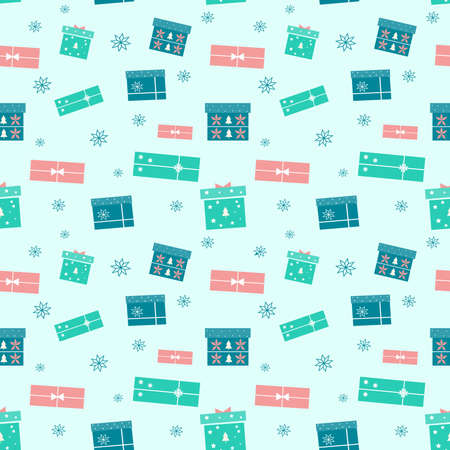Holiday seamless pattern with colorful Christmas gift boxes on blue background. Vector gifts illustration with ribbon, christmas tree and snowflakes