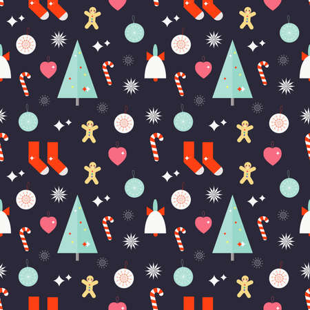 christmas cookie: Christmas seamless pattern with bell, christmas tree, socks, cookie man, candy stick, heart, star, toys on purple background