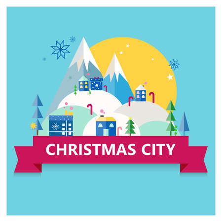 Flat Christmas colorful city. Mountain, trees, houses, snow, snowflakes holiday illustration on blue background with red ribbon.