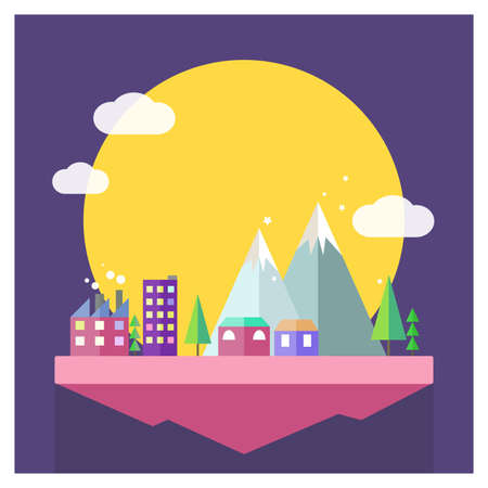 Vector flat moon city illustration. Mountain, cloud and house in minimalistic style on purple background. Magical sky island Ilustrace