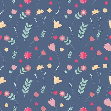Colorful floral seamless pattern. Pink, yellow, green, red flowers on blue background in scandinavian style.