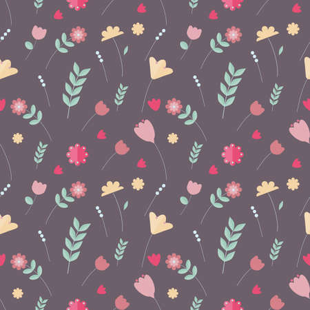 Colorful floral seamless pattern. Pink, yellow, green, red flowers on pastel background in scandinavian style.