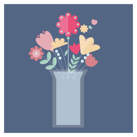 Colorful flowers in white vase with water on blue background. Pink, yellow, green, red floral elements vector illustration.