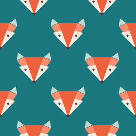 Cute foxes seamless vector pattern. Orange foxs head on blue background