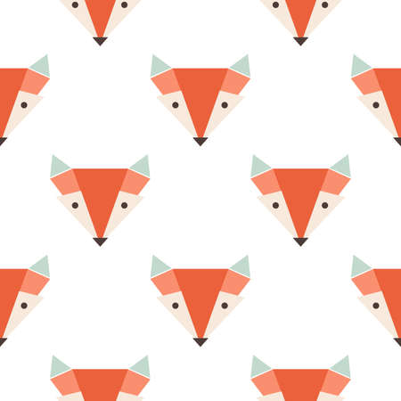 Cute foxes seamless vector pattern. Orange foxs head on white backgroun