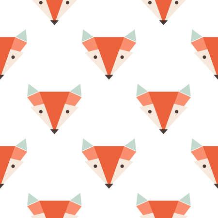 zorro: Zorros lindos sin fisuras vector patrón. La cabeza de zorro naranja en blanco backgroun Vectores