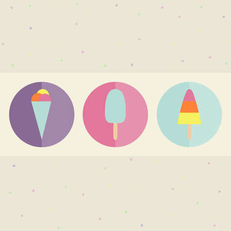 Ice cream icon set. Colorful collection of different ice cream types. Flat style