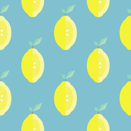Seamless pattern with lemon slices on the blue background. Vector illustration