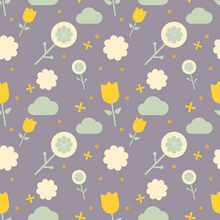 Seamless stylized graphic pattern with yellow tulip, cloud, dot and abstract flower. Scandinavian ornament. Cute design for kids