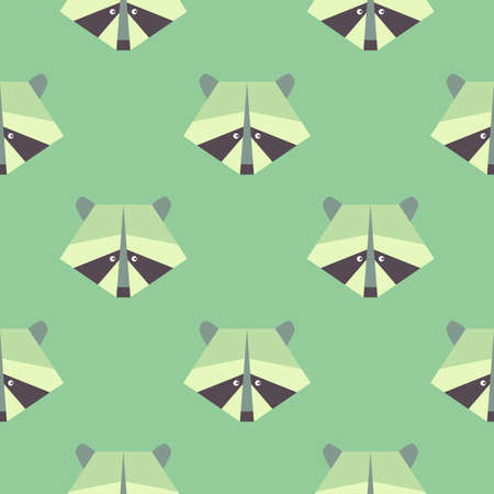 Seamless raccoon pattern in flat graphics. Raccoon vector Illustration on green forest background