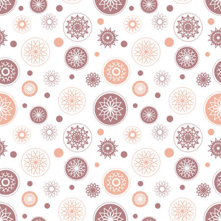 Seamless snowflake pattern. Holiday illustration with colorful elements on white background