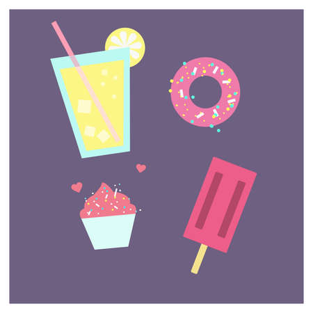 Colorful vector illustration of ice cream, lemonade, cupcake and donut on purple background