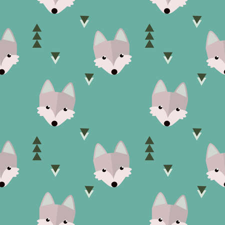 Seamless winter wolf forest pattern. Animal illustration with trees on orange background in vector