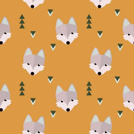 lobo feroz: patrón de bosque invierno lobo sin fisuras. ilustración animal con árboles sobre fondo azul en el vector