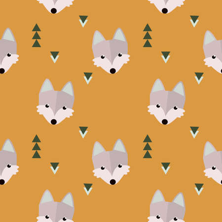 Seamless winter wolf forest pattern. Animal illustration with trees on blue background in vector