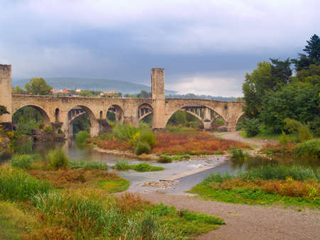 Roman bridge in Besalu, Spain Stock Photo