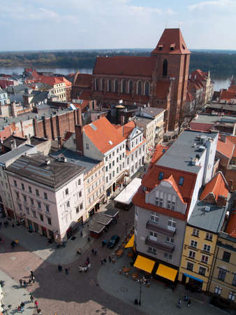 old town of Torun, Poland, and Wisla river as seen from above