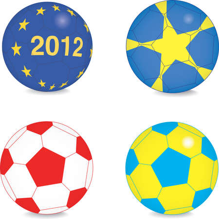 set of football balls Vector