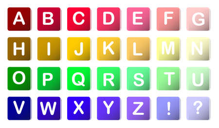 colorful rounded english alphabet blocks in 3d and color Stock Vector - 13358688