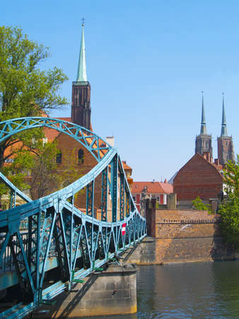 Lovers bridge and gothic cathedrals in Wroclaw, Poland  photo