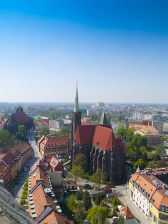 View of Wroclaw  Breslau , Poland, on Oder river frome above