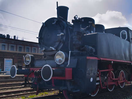 old steam locomotive on station