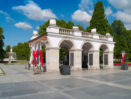 est: tomb of the unknown soldier  est  1925  with park in background, Warsaw, Poland Editorial