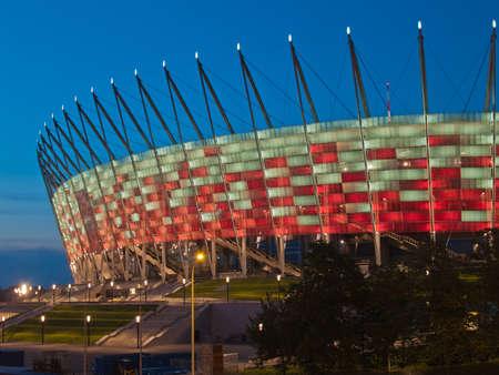 WARSAW, POLAND - CIRCA MAY 2012 - National stadium at night, Warsaw, Poland. The stadium is the host for UEFA football Euro cup circa May 2012.