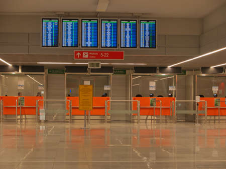 Airport passports immigration control security desk, no advertising materials