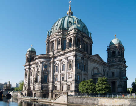 Berlin Cathedral in morning over Spree river  Stock Photo