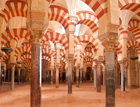 interior of Mosque  Mezquita  cathedral of Cordoba, Spain  Editorial