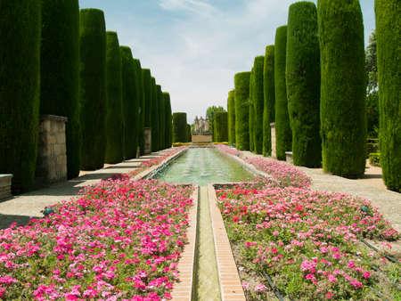 Park und Teichen in Alc�zar de los Reyes Cristianos, Cordoba, Spanien Lizenzfreie Bilder