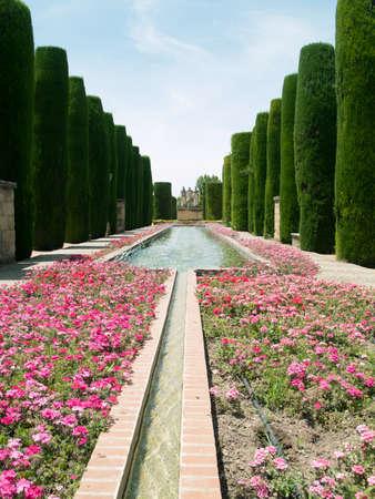 Park and ponds in Alcazar de los Reyes Cristianos, Cordoba, Spain