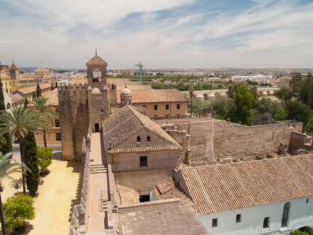 Alcazar de los Reyes Cristianos and landscape of Cordoba, Spain frome above Stock Photo