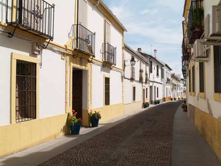 Typical cobbled mediterranean street of white houses in Cordoba Stock Photo - 14921713
