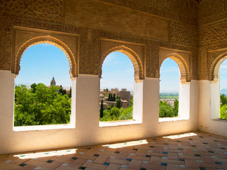 Moorish pavilion and gardens of Alhambra palace, Granada, Spain Stock Photo