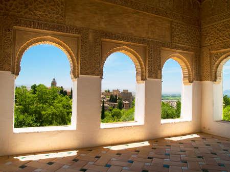 moorish: Moorish pavilion and gardens of Alhambra palace, Granada, Spain Stock Photo